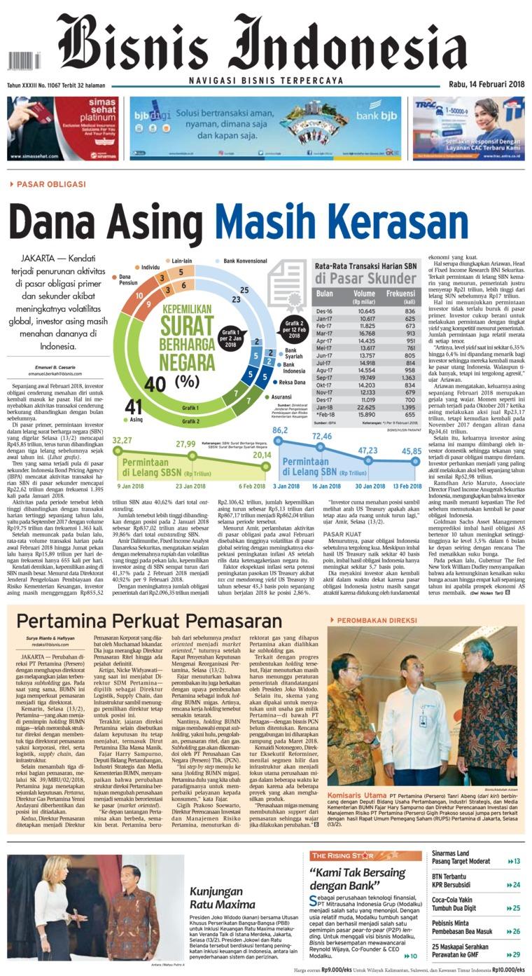 Koran Digital Bisnis Indonesia 14 Februari 2018