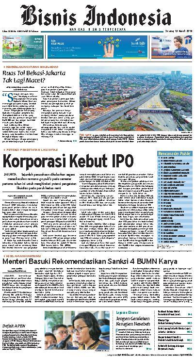 Koran Digital Bisnis Indonesia 13 Maret 2018