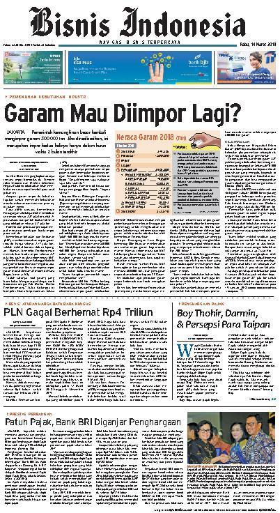 Koran Digital Bisnis Indonesia 14 Maret 2018