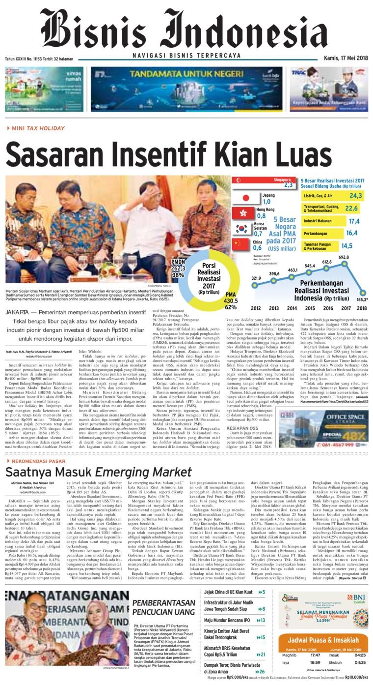Bisnis Indonesia Digital Newspaper 17 May 2018