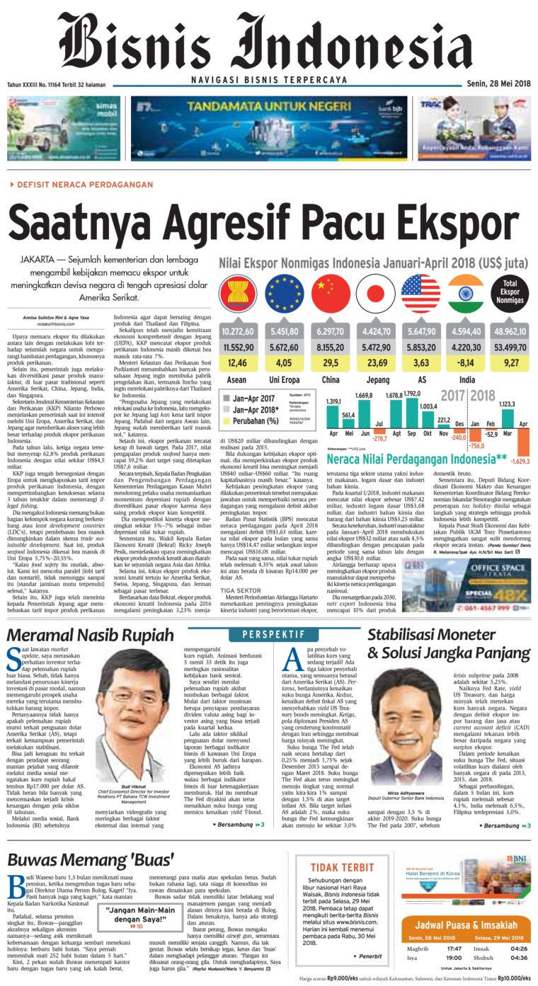 Bisnis Indonesia Digital Newspaper 28 May 2018