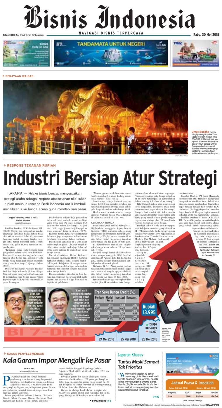 Koran Digital Bisnis Indonesia 30 Mei 2018