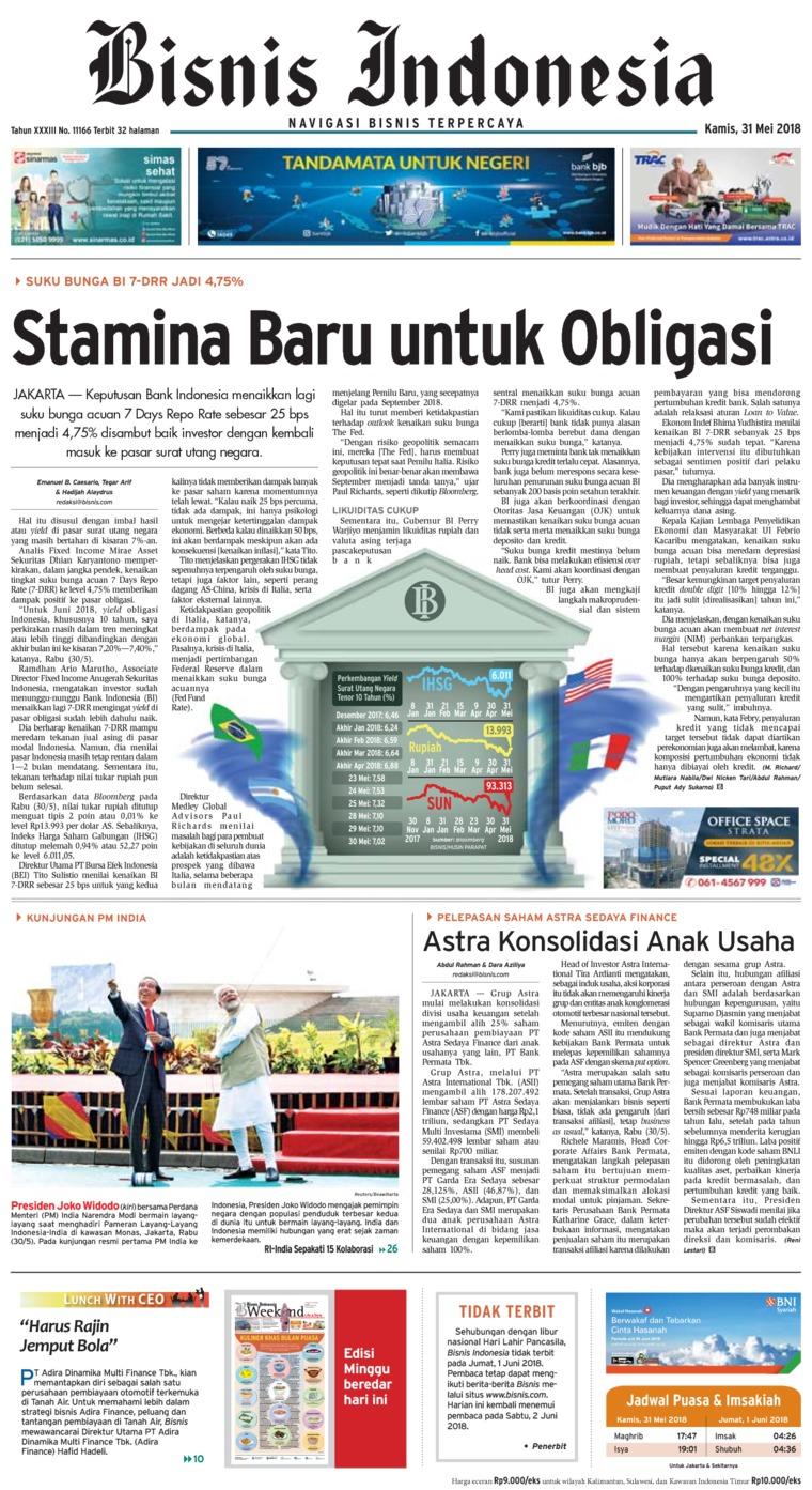 Koran Digital Bisnis Indonesia 31 Mei 2018