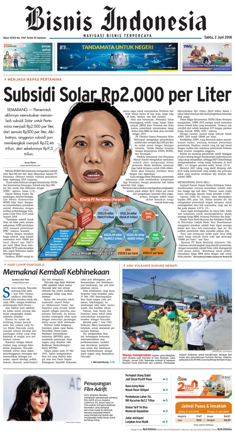 Bisnis Indonesia Digital Newspaper 02 June 2018