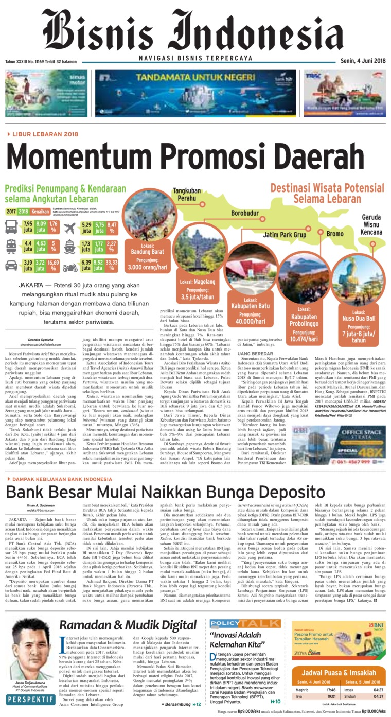 Bisnis Indonesia Digital Newspaper 04 June 2018
