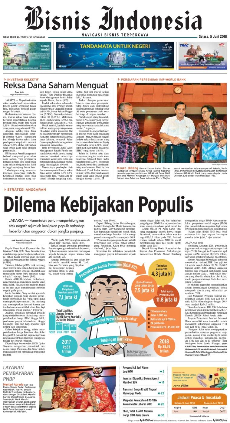 Koran Digital Bisnis Indonesia 05 Juni 2018