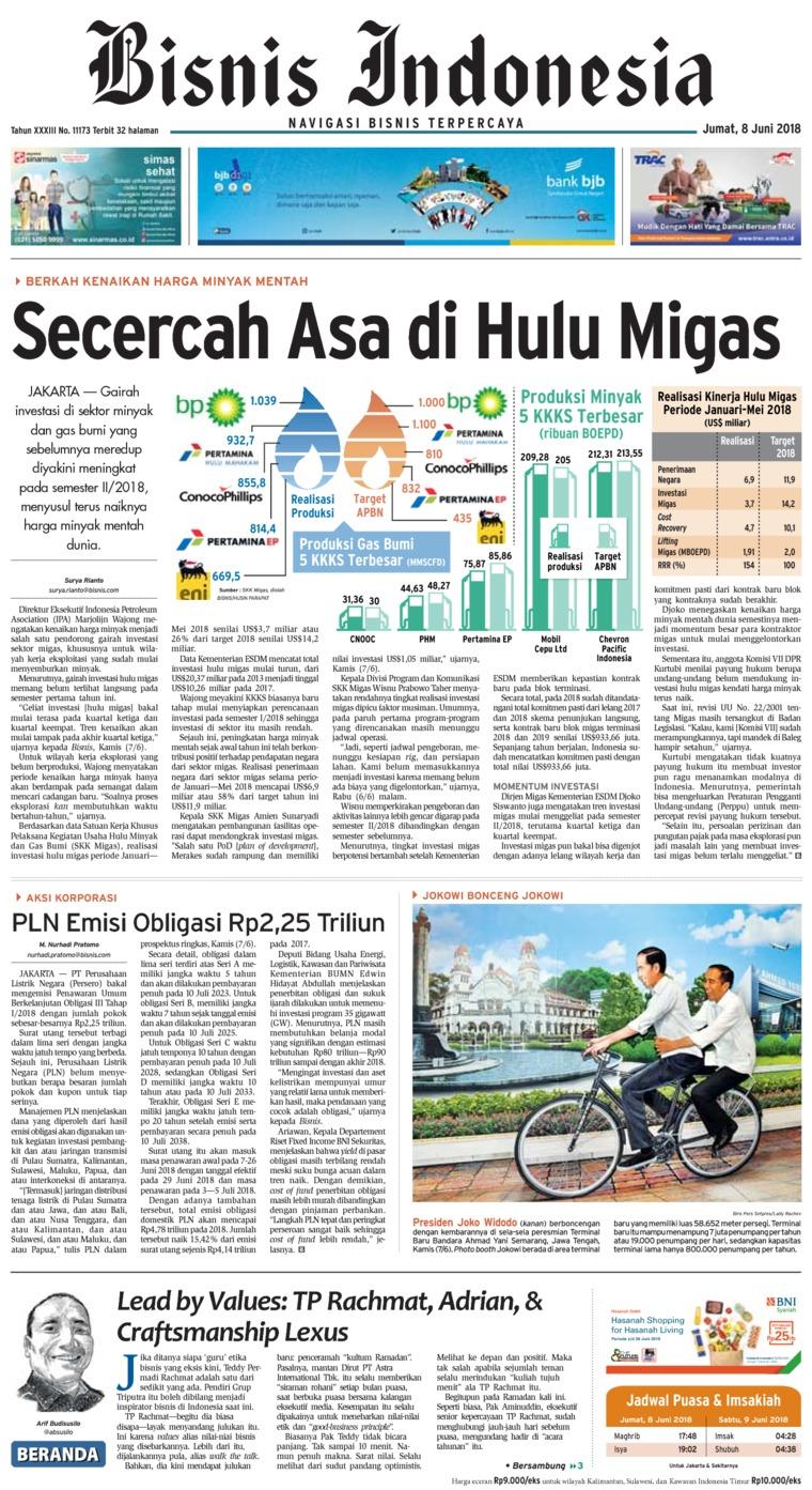 Bisnis Indonesia Digital Newspaper 08 June 2018