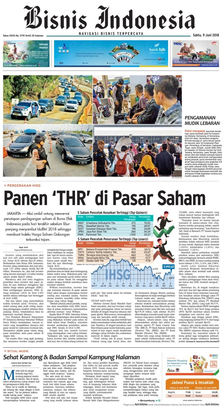 Koran Digital Bisnis Indonesia 09 Juni 2018