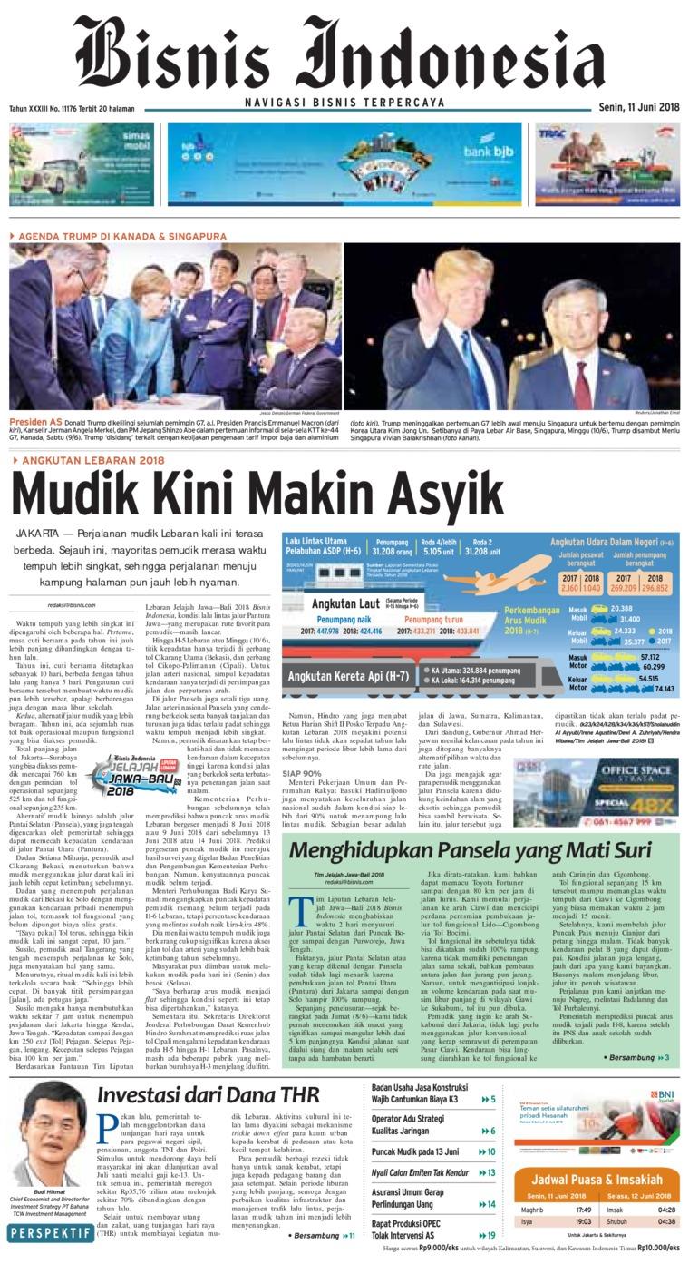 Koran Digital Bisnis Indonesia 11 Juni 2018