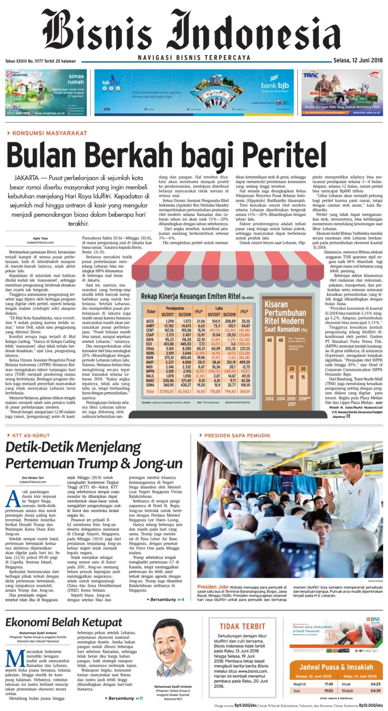Bisnis Indonesia Digital Newspaper 12 June 2018
