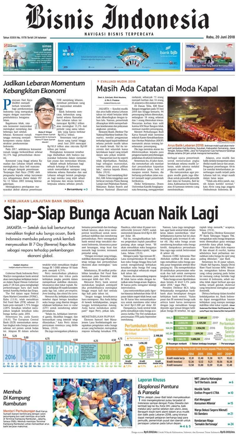 Bisnis Indonesia Digital Newspaper 20 June 2018