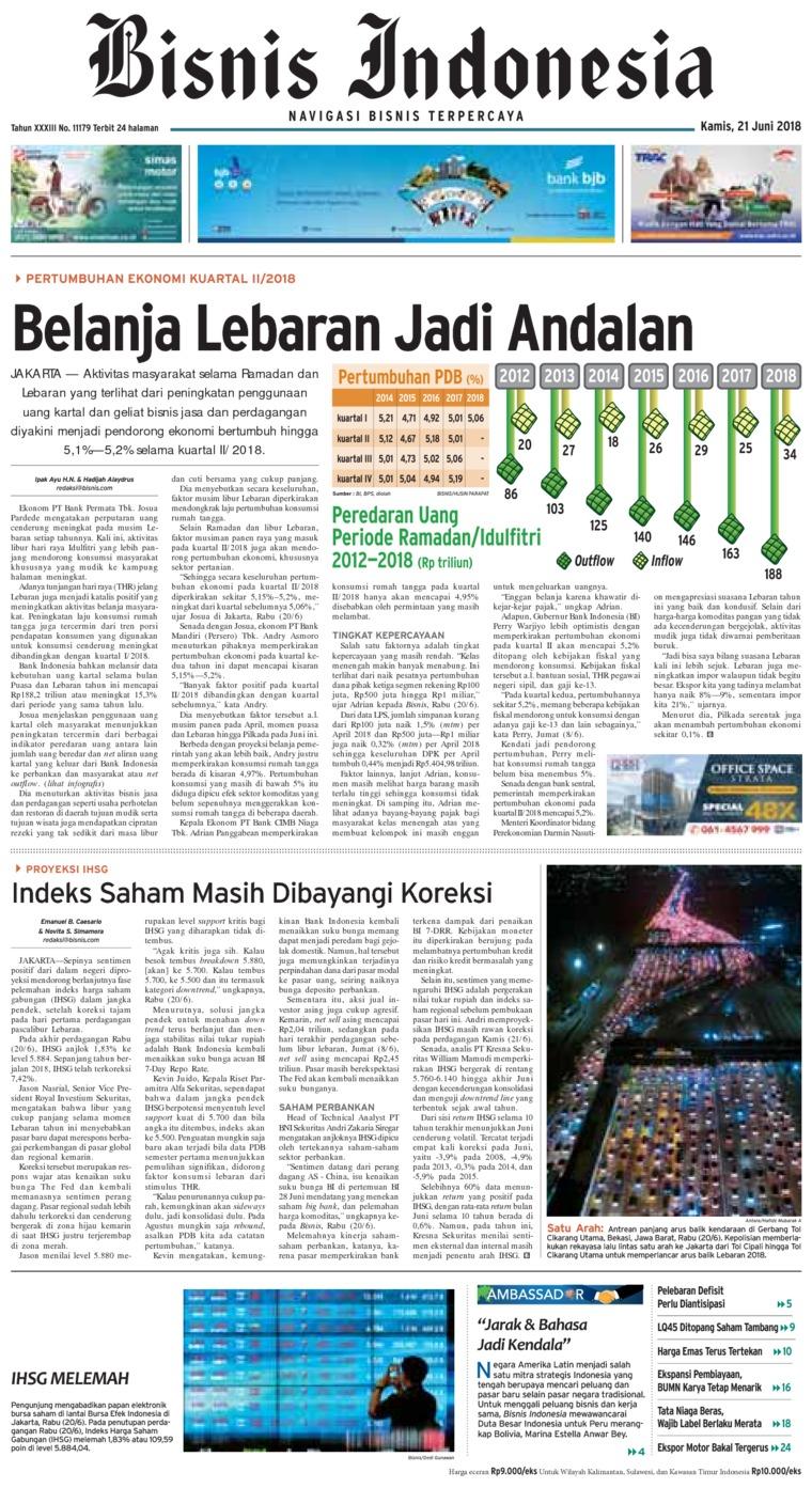 Bisnis Indonesia Digital Newspaper 21 June 2018