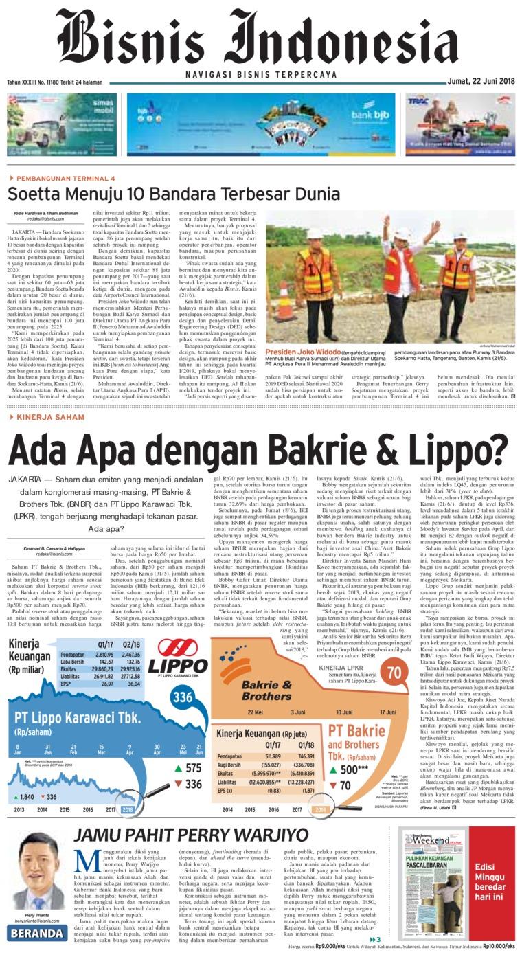 Bisnis Indonesia Digital Newspaper 22 June 2018
