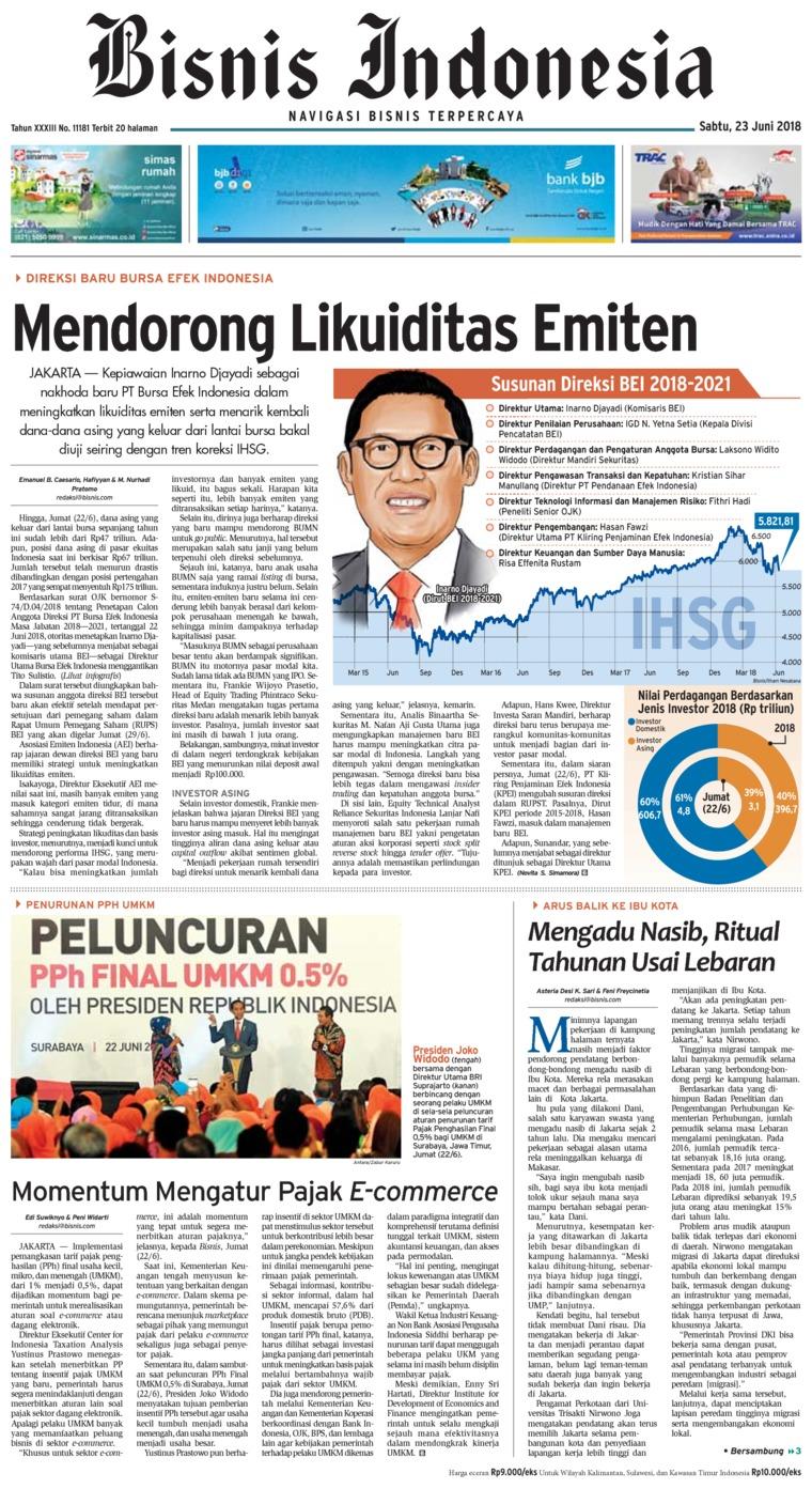 Koran Digital Bisnis Indonesia 23 Juni 2018