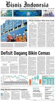 Cover Bisnis Indonesia 16 Mei 2018