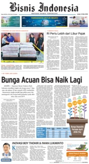 Cover Bisnis Indonesia 18 Mei 2018
