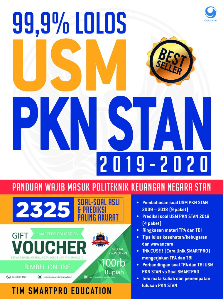 Buku Digital 99.9% Lolos USM PKN STAN 2019 -2020 oleh TIM SMARTPRO EDUCATION