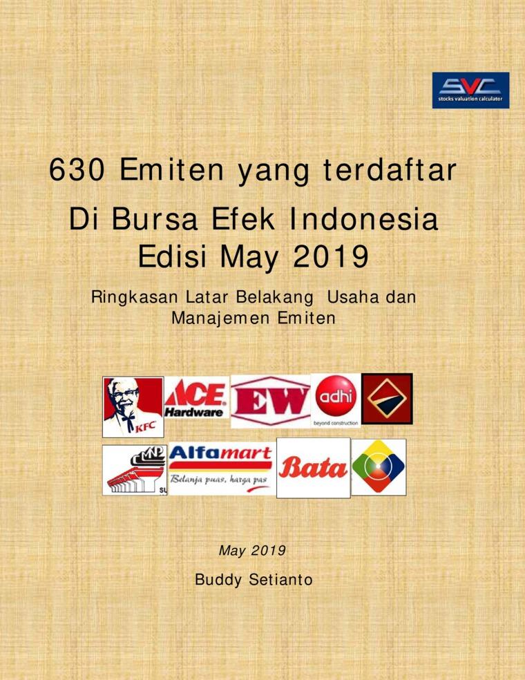 Buku Digital 630 Emiten yang terdaftar Di Bursa Efek Indonesia Edisi May 2019 oleh Buddy Setianto