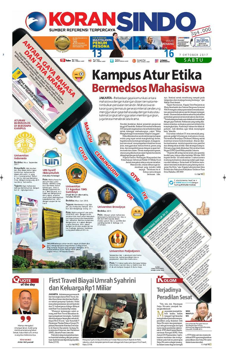 Koran Sindo Newspaper 07 October 2017 Gramedia Digital