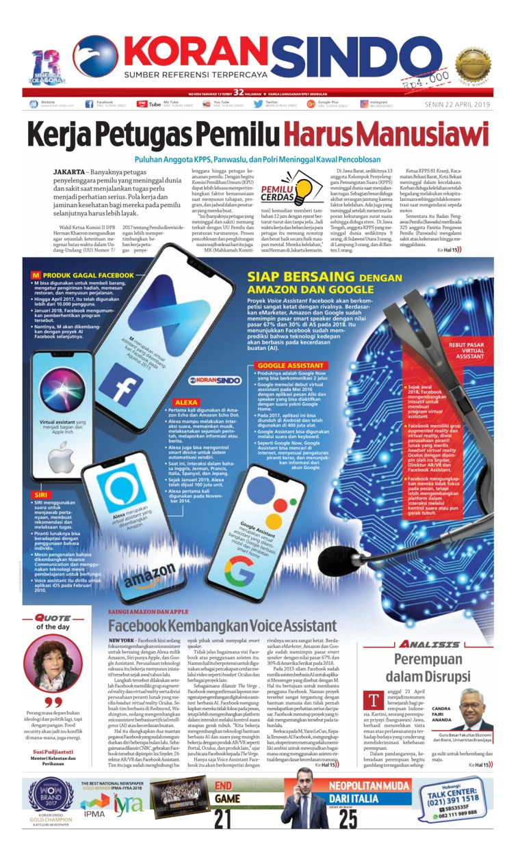Koran Sindo Digital Newspaper 22 April 2019
