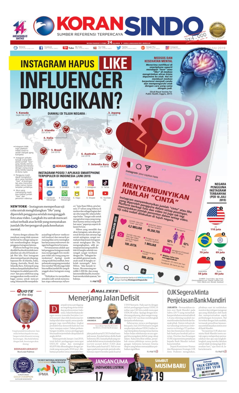 Koran Sindo Digital Newspaper 22 July 2019