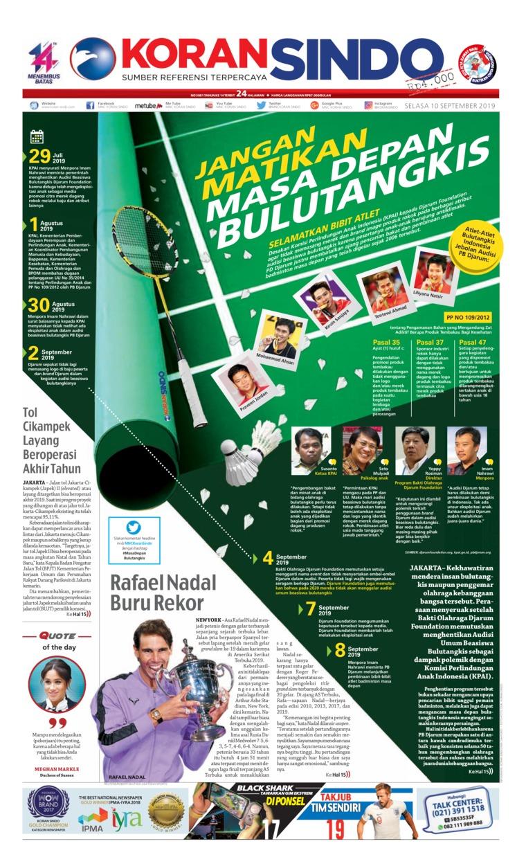 Koran Sindo Digital Newspaper 10 September 2019