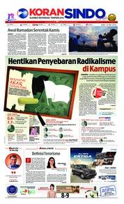 Cover Koran Sindo 16 Mei 2018