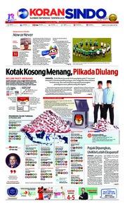 Cover Koran Sindo 23 Juni 2018