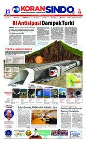 Cover Koran Sindo 14 Agustus 2018