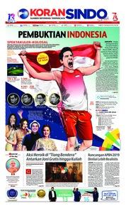 Cover Koran Sindo 18 Agustus 2018