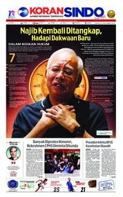 Cover Koran Sindo 20 September 2018