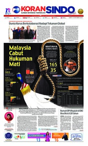 Cover Koran Sindo 13 Oktober 2018