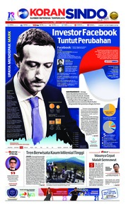 Cover Koran Sindo 19 Oktober 2018