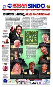 Cover Koran Sindo 31 Januari 2019