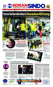 Cover Koran Sindo 16 Maret 2019