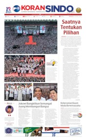 Cover Koran Sindo 14 April 2019