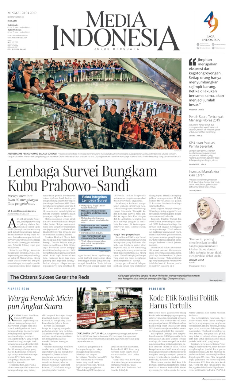 Koran Digital Media Indonesia 21 April 2019