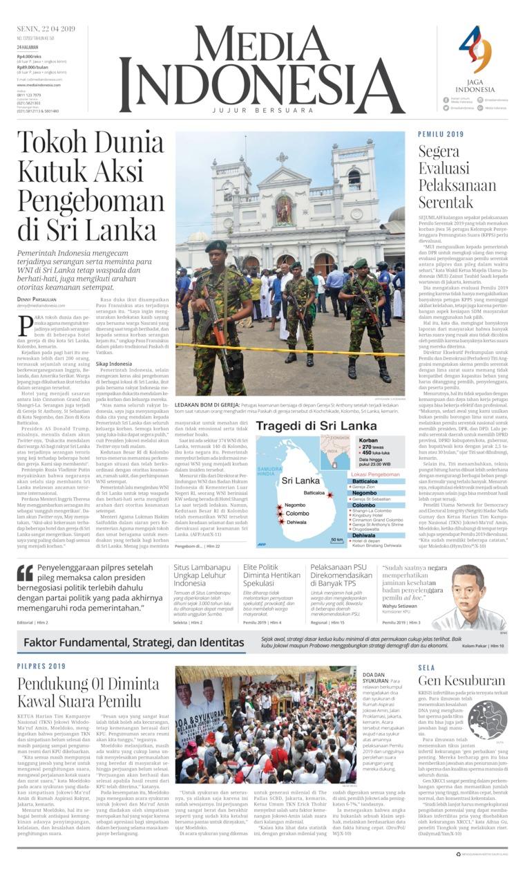 Media Indonesia Digital Newspaper 22 April 2019