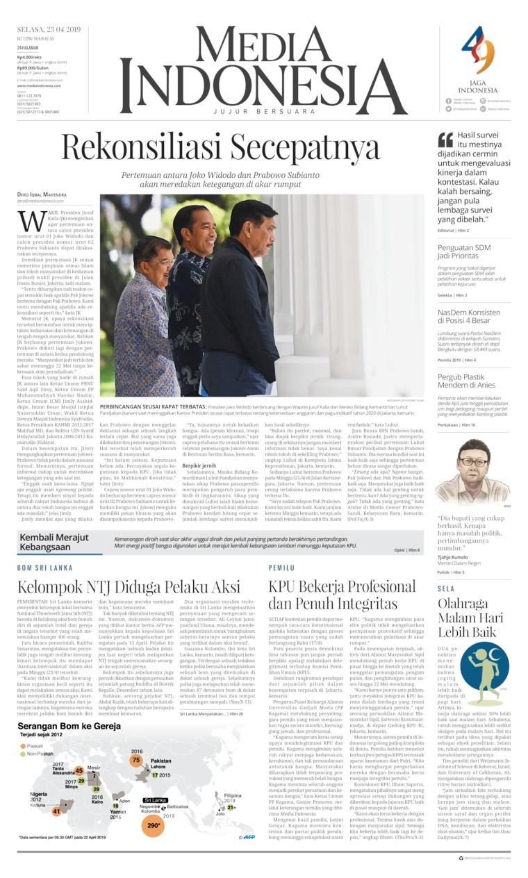 Koran Digital Media Indonesia 23 April 2019
