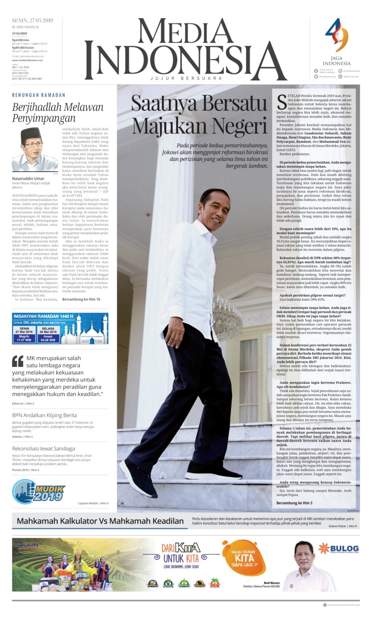 Media Indonesia Digital Newspaper 27 May 2019