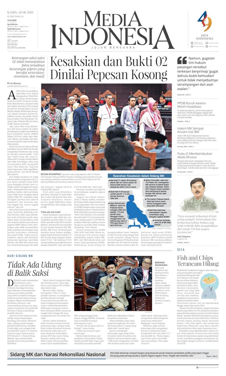 Koran Digital Media Indonesia 20 Juni 2019