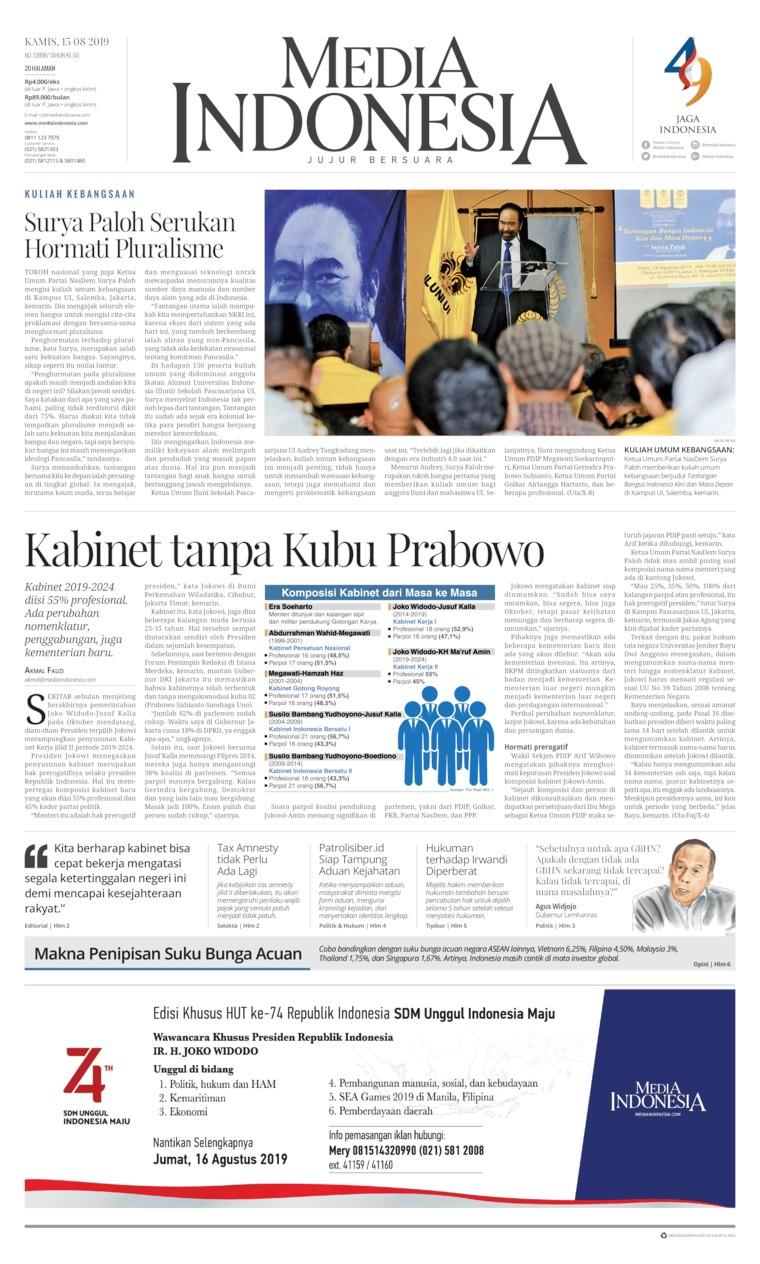 Media Indonesia Digital Newspaper 15 August 2019