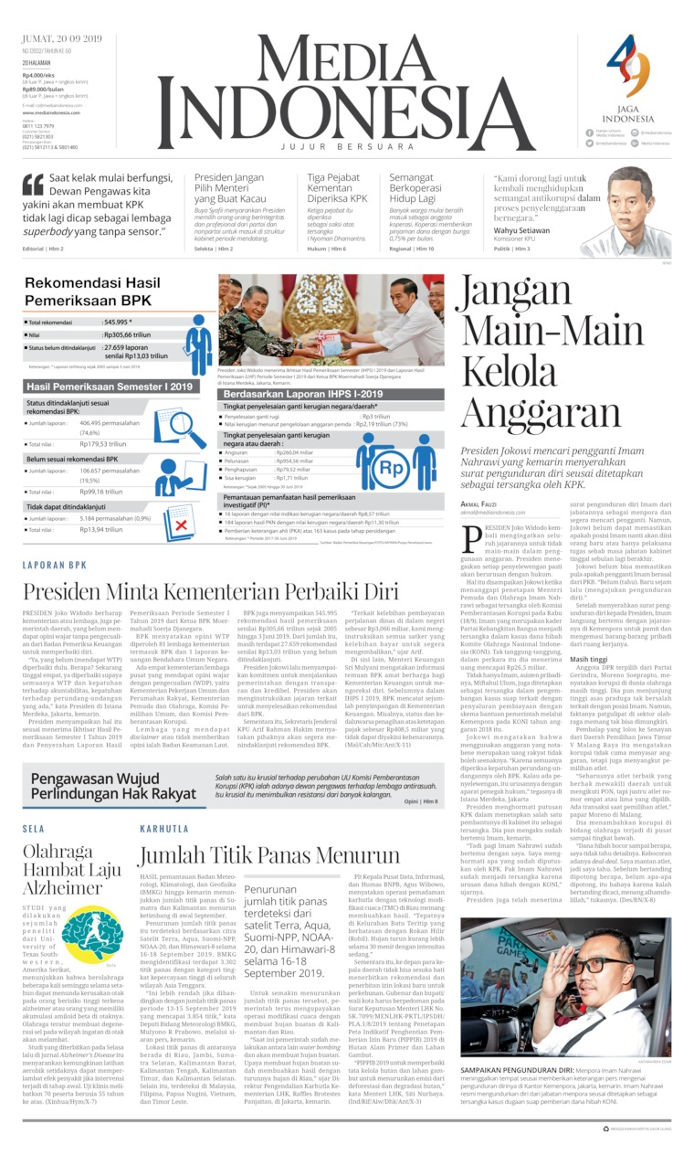 Koran Digital Media Indonesia 20 September 2019