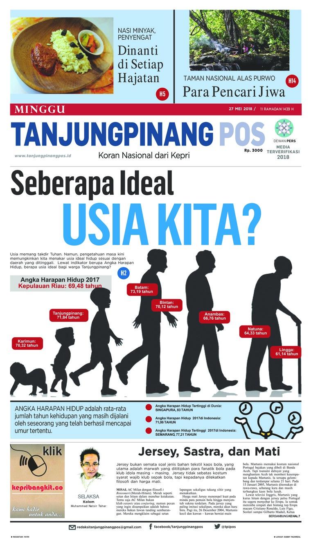 Tanjungpinang Pos Newspaper 27 May 2018 Gramedia Digital 11 12 Tahun