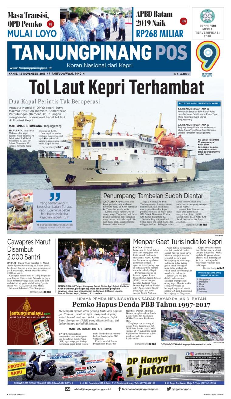 Koran Digital Tanjungpinang Pos 15 November 2018