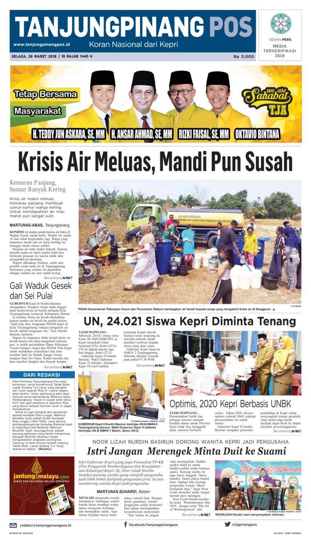 Koran Digital Tanjungpinang Pos 26 Maret 2019