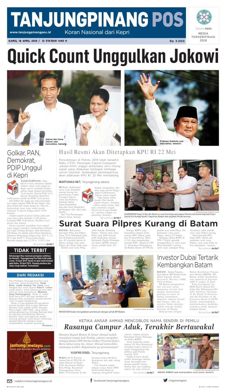 Tanjungpinang Pos Digital Newspaper 18 April 2019