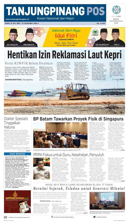 Tanjungpinang Pos Digital Newspaper 18 July 2019