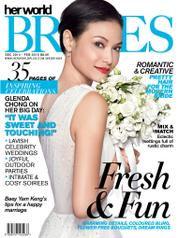 Cover Majalah her world BRIDES Singapore Desember–Februari 2015