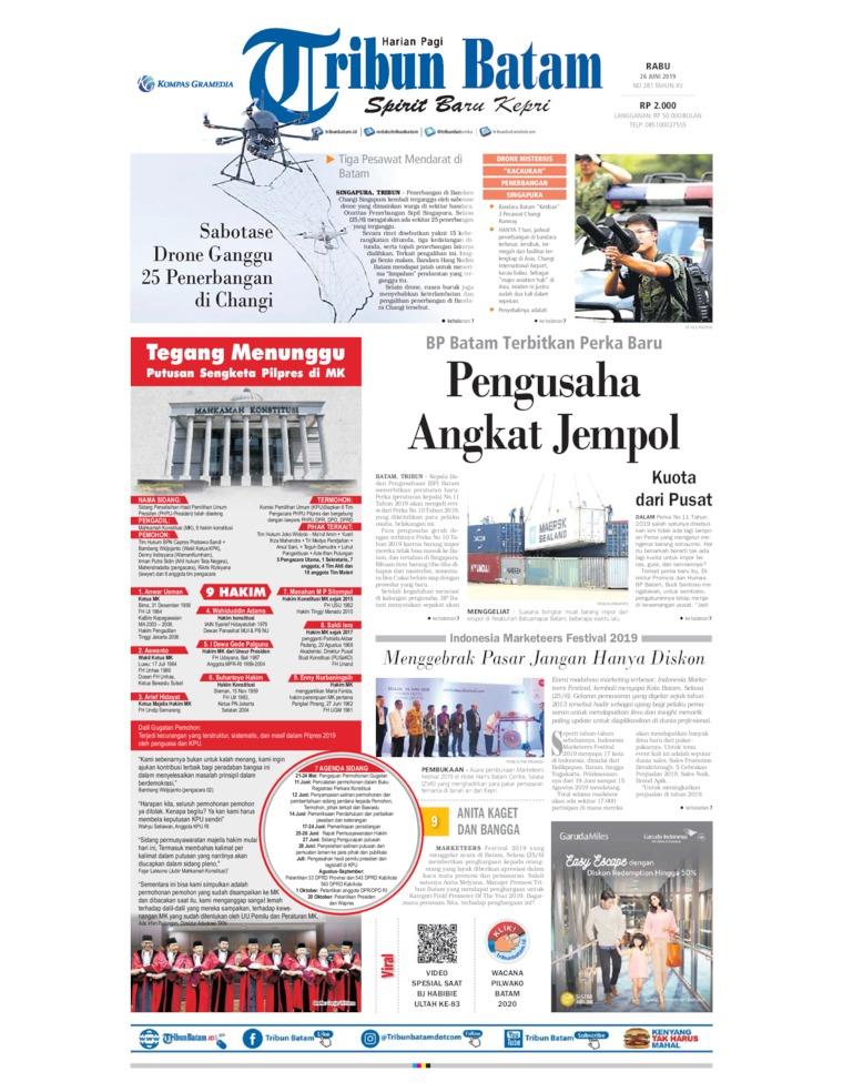 Tribun Batam Digital Newspaper 26 June 2019